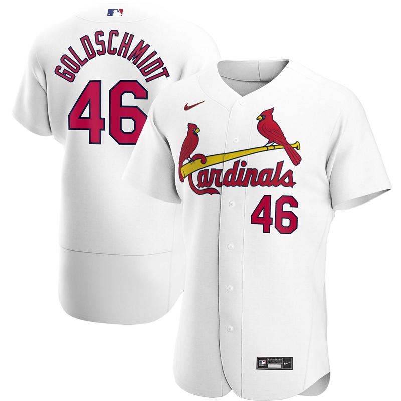 2020 MLB Men St. Louis Cardinals 46 Paul Goldschmidt Nike White Home 2020 Authentic Player Jersey 1