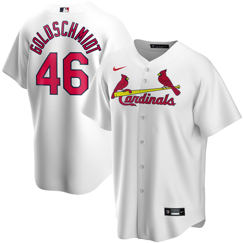 2020 MLB Men St. Louis Cardinals 46 Paul Goldschmidt Nike White Home 2020 Replica Player Jersey 1