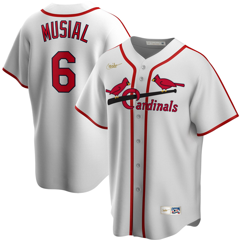 2020 MLB Men St. Louis Cardinals 6 Stan Musial Nike White Home Cooperstown Collection Player Jersey 1