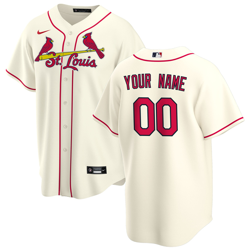 2020 MLB Men St. Louis Cardinals Nike Cream Alternate 2020 Replica Custom Jersey 1