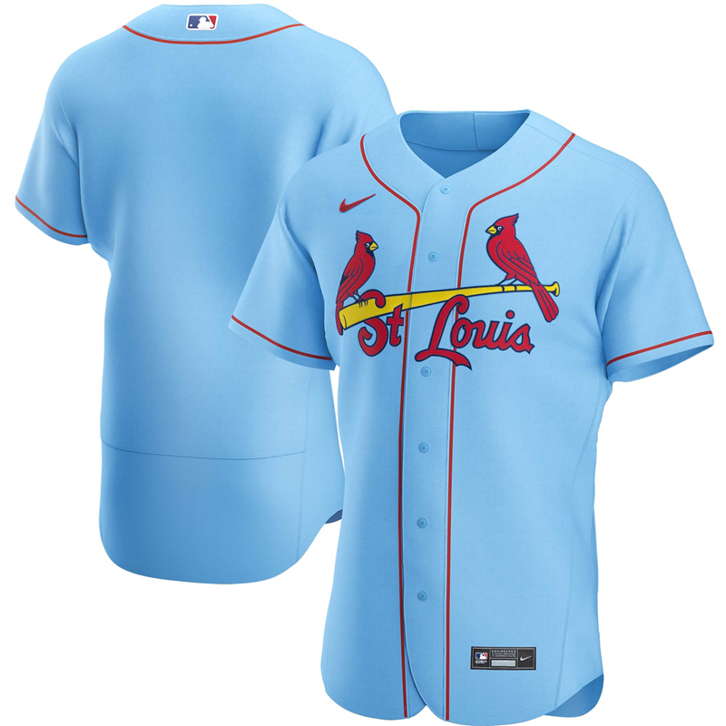2020 MLB Men St. Louis Cardinals Nike Light Blue Alternate 2020 Authentic Player Jersey 1