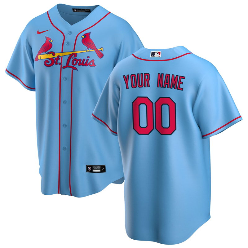 2020 MLB Men St. Louis Cardinals Nike Light Blue Alternate 2020 Replica Custom Jersey 1