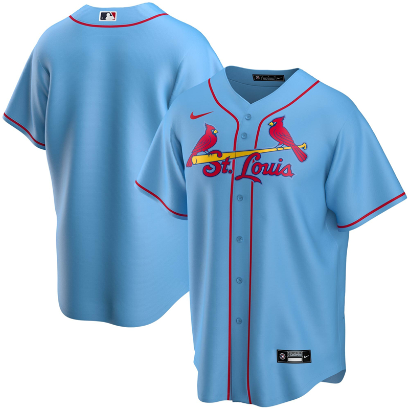 2020 MLB Men St. Louis Cardinals Nike Light Blue Alternate 2020 Replica Team Jersey 1