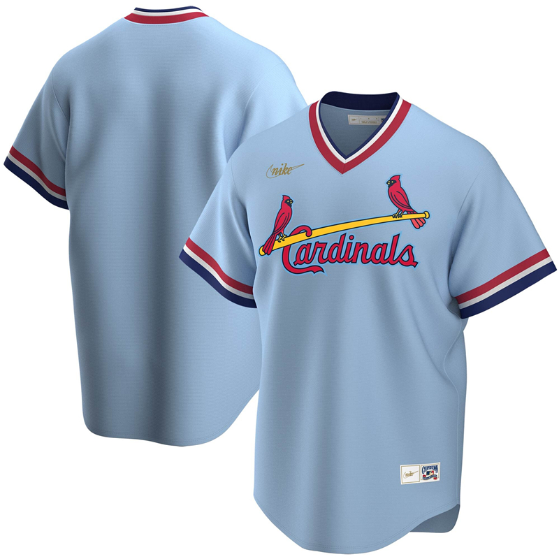 2020 MLB Men St. Louis Cardinals Nike Light Blue Road Cooperstown Collection Team Jersey 1