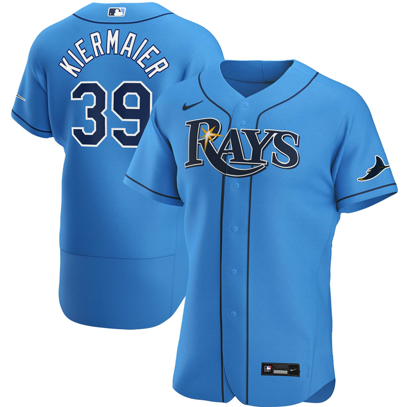 2020 MLB Men Tampa Bay Rays 39 Kevin Kiermaier Nike Light Blue Alternate 2020 Authentic Player Jersey 1