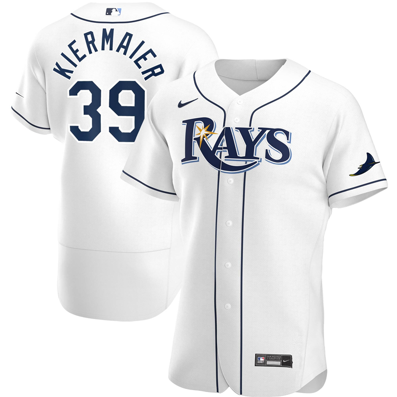 2020 MLB Men Tampa Bay Rays 39 Kevin Kiermaier Nike White Home 2020 Authentic Player Jersey 1