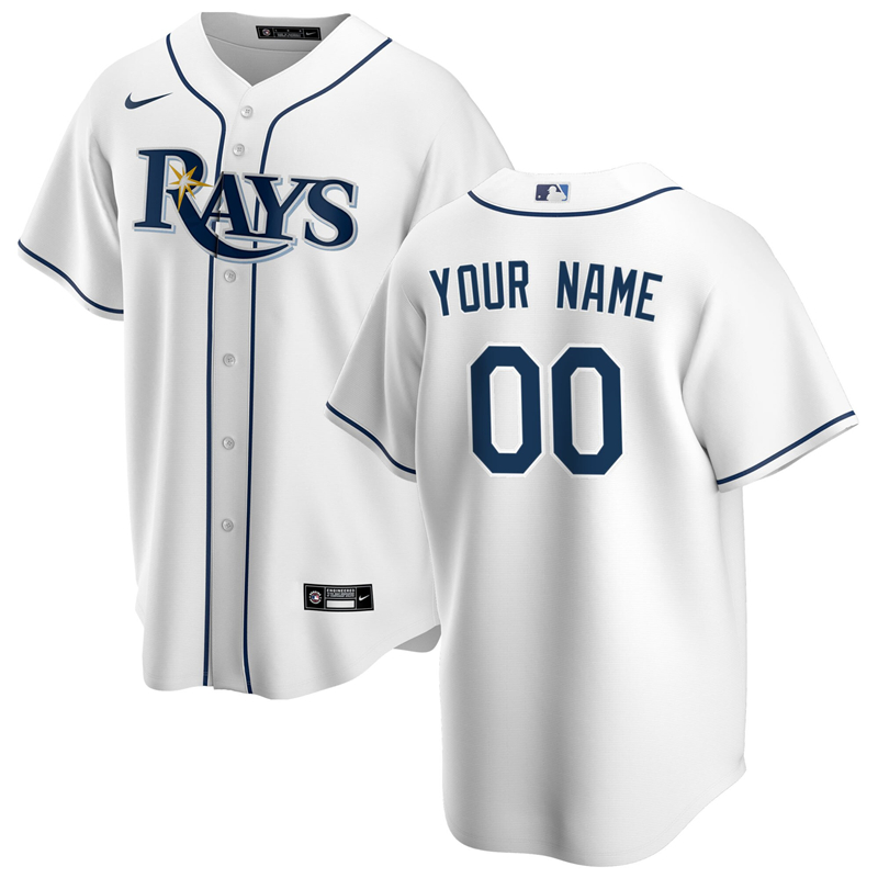 2020 MLB Men Tampa Bay Rays Nike White Home 2020 Replica Custom Jersey 1