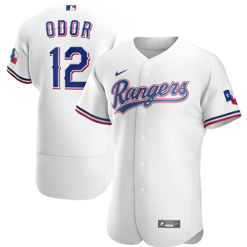 2020 MLB Men Texas Rangers 12 Rougned Odor Nike White Home 2020 Authentic Player Jersey 1
