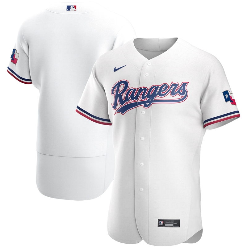 2020 MLB Men Texas Rangers Nike White Home 2020 Authentic Jersey 1