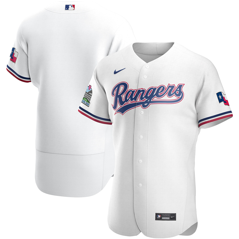 2020 MLB Men Texas Rangers Nike White Home 2020 Authentic Team Jersey 1