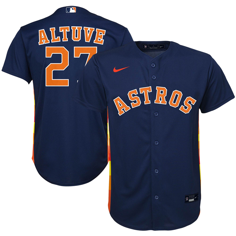 2020 MLB Preschool Houston Astros 27 Jose Altuve Nike Navy Alternate 2020 Replica Player Jersey 1
