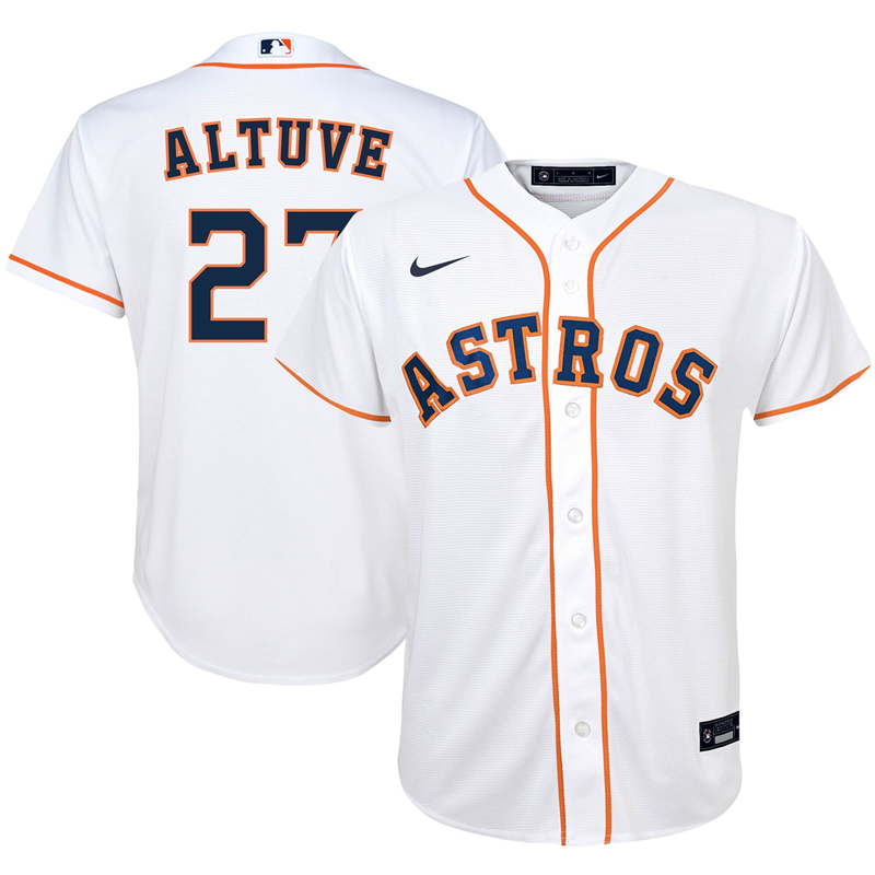2020 MLB Preschool Houston Astros 27 Jose Altuve Nike White Home 2020 Replica Player Jersey 1