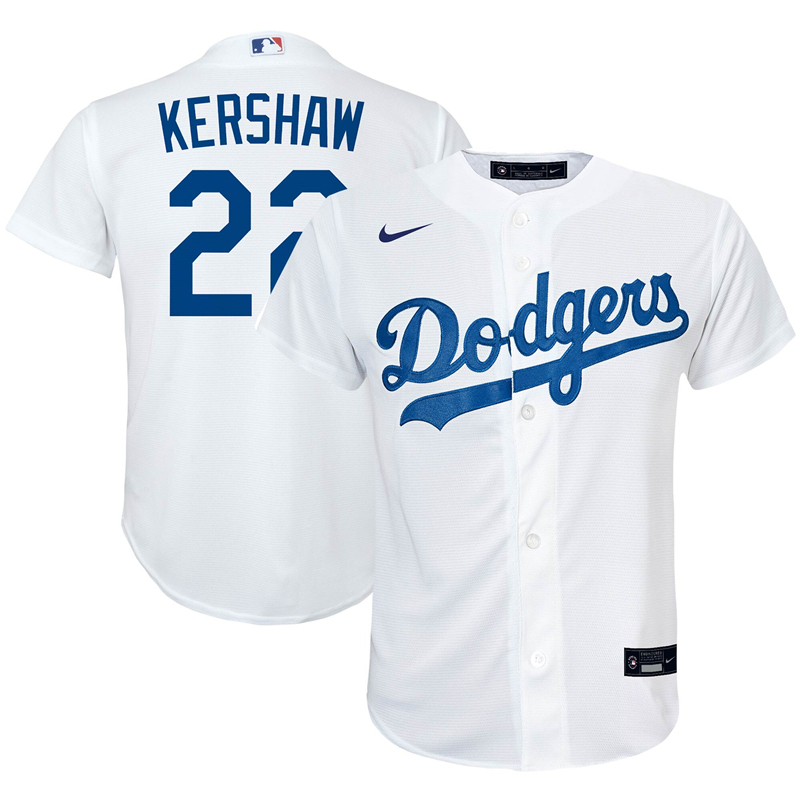 2020 MLB Preschool Los Angeles Dodgers Clayton Kershaw Nike White Home 2020 Replica Player Jersey 1