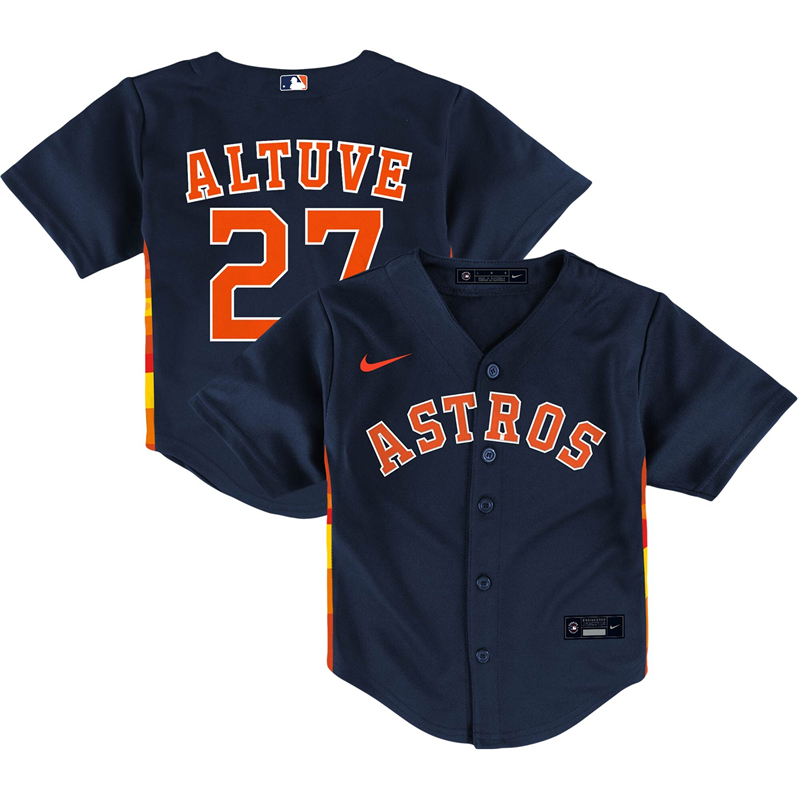 2020 MLB Toddler Houston Astros 27 Jose Altuve Nike Navy Alternate 2020 Replica Player Jersey 1