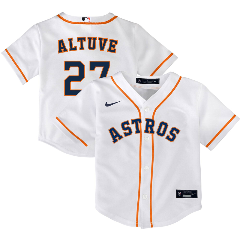 2020 MLB Toddler Houston Astros 27 Jose Altuve Nike White Home 2020 Replica Player Jersey 1