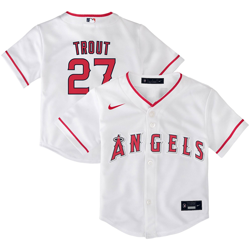 2020 MLB Toddler Los Angeles Angels 27 Mike Trout Nike White Home 2020 Replica Player Jersey 1