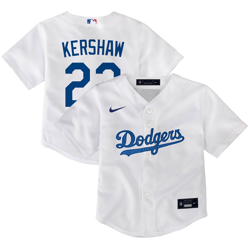 2020 MLB Toddler Los Angeles Dodgers Clayton Kershaw Nike White Home 2020 Replica Player Jersey 1