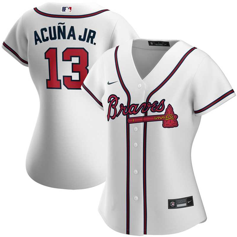 2020 MLB Women Atlanta Braves 13 Ronald Acuna Jr. Nike White Home 2020 Replica Player Jersey 1