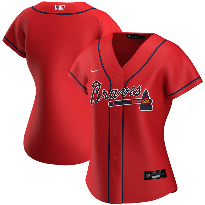 2020 MLB Women Atlanta Braves Nike Red Alternate 2020 Replica Jersey 1