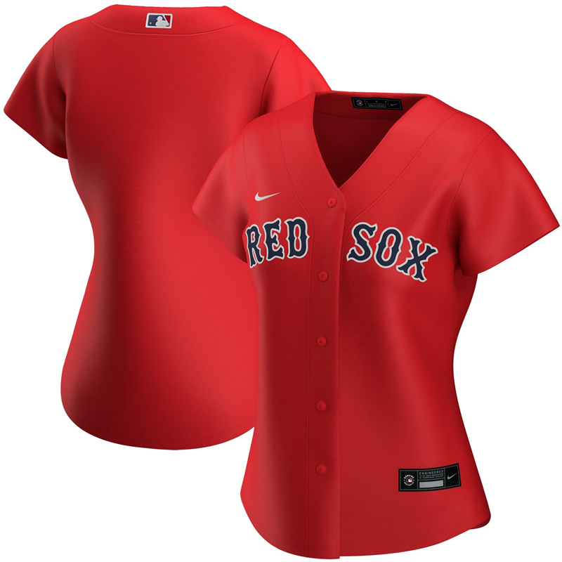 2020 MLB Women Boston Red Sox Nike Red Alternate 2020 Replica Team Jersey 1