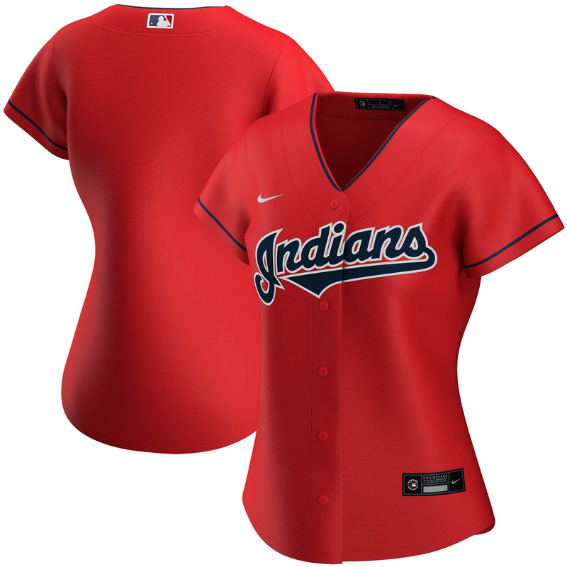 2020 MLB Women Cleveland Indians Nike Red Alternate 2020 Replica Team Jersey 1