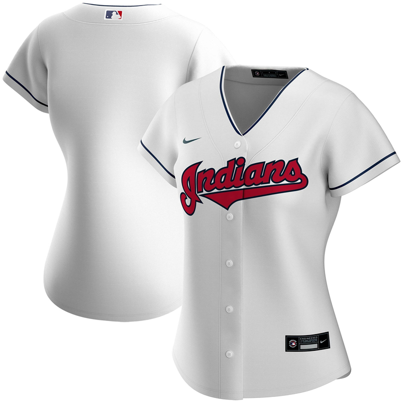 2020 MLB Women Cleveland Indians Nike White Home 2020 Replica Team Jersey 1