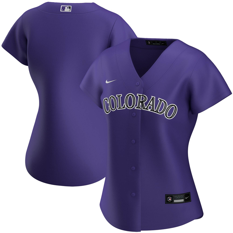 2020 MLB Women Colorado Rockies Nike Purple Alternate 2020 Replica Team Jersey 1