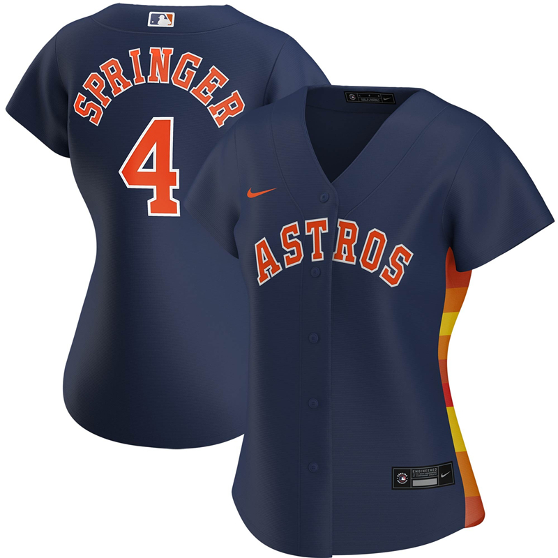 2020 MLB Women Houston Astros 4 George Springer Nike Navy Alternate 2020 Replica Player Jersey 1