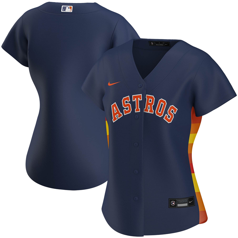 2020 MLB Women Houston Astros Nike Navy Alternate 2020 Replica Team Jersey 1