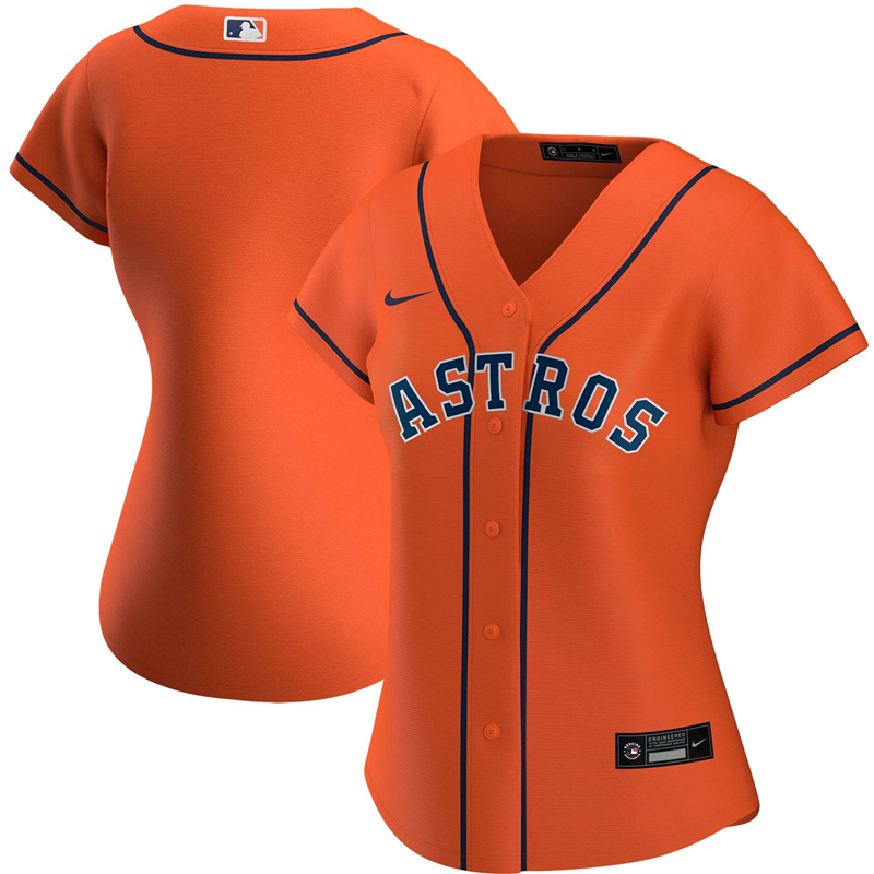2020 MLB Women Houston Astros Nike Orange Alternate 2020 Replica Team Jersey 1
