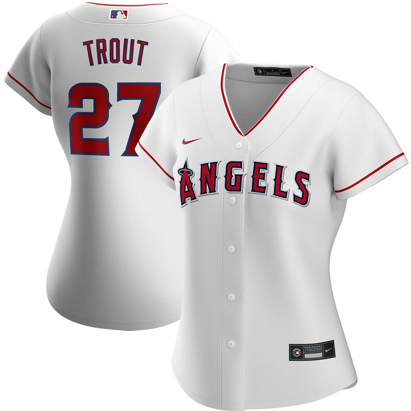 2020 MLB Women Los Angeles Angels 27 Mike Trout Nike White Home 2020 Replica Player Jersey 1