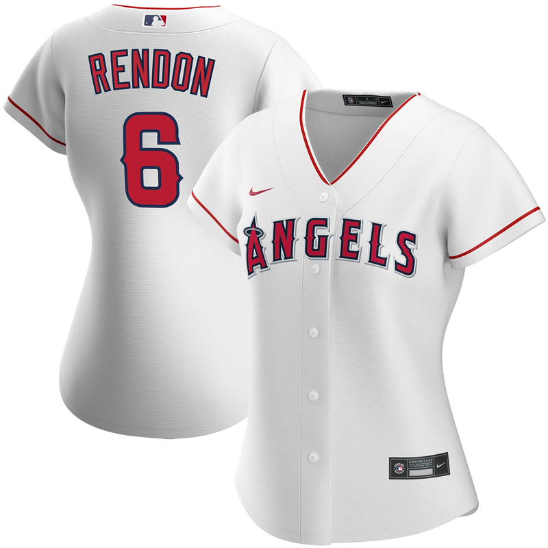 2020 MLB Women Los Angeles Angels 6 Anthony Rendon Nike White Home 2020 Replica Player Jersey 1