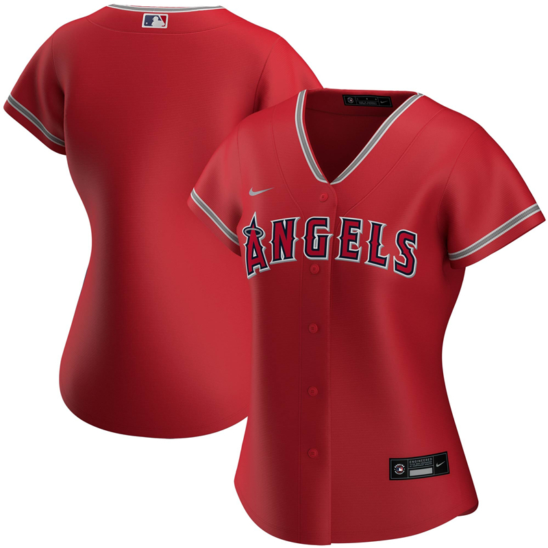 2020 MLB Women Los Angeles Angels Nike Red Alternate 2020 Replica Team Jersey 1