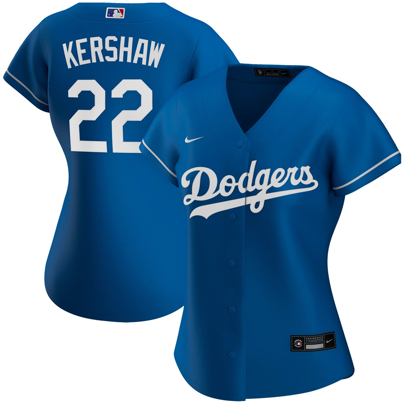2020 MLB Women Los Angeles Dodgers Clayton Kershaw Nike Royal Alternate 2020 Replica Player Jersey 2