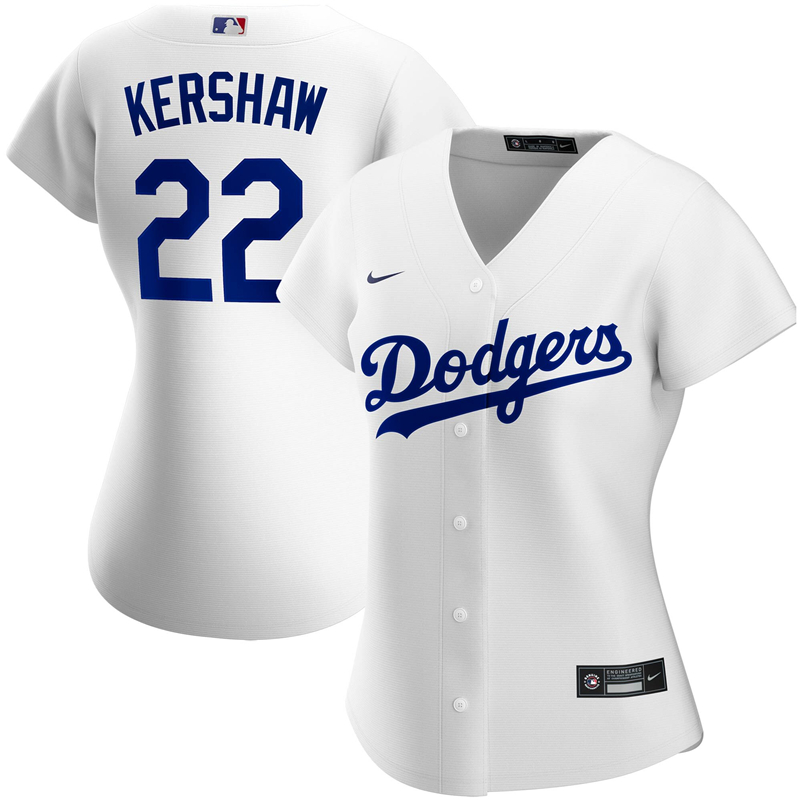 2020 MLB Women Los Angeles Dodgers Clayton Kershaw Nike White Home 2020 Replica Player Jersey 1