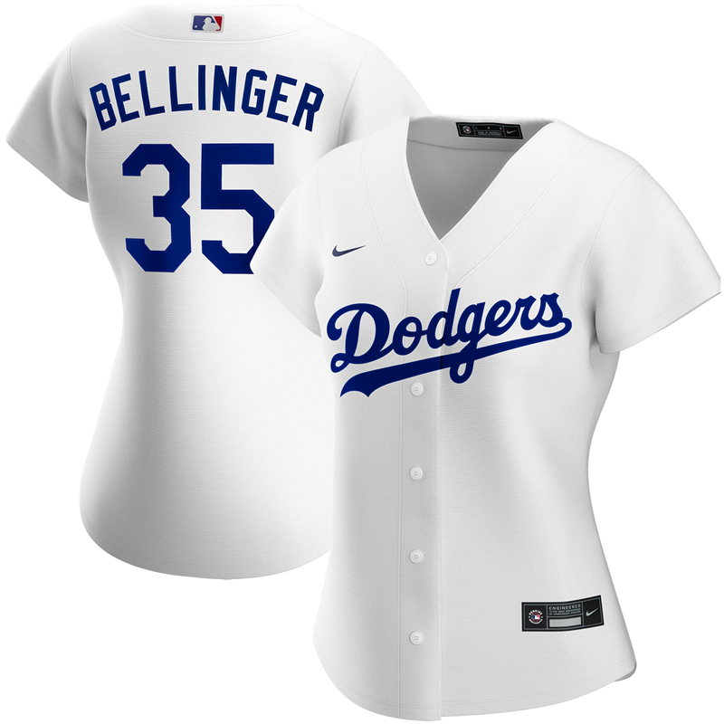 2020 MLB Women Los Angeles Dodgers Cody Bellinger Nike White Home 2020 Replica Player Jersey 1
