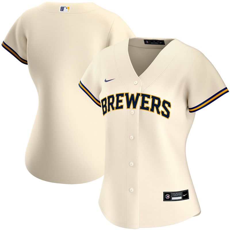 2020 MLB Women Milwaukee Brewers Nike Cream Home 2020 Replica Team Jersey 1