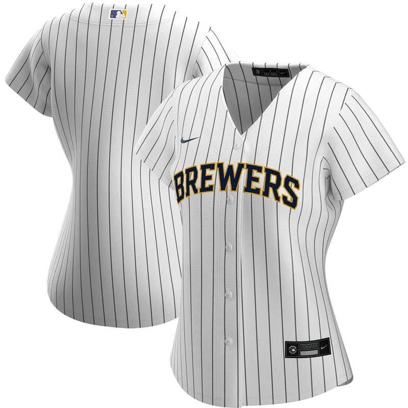 2020 MLB Women Milwaukee Brewers Nike White Navy Alternate 2020 Replica Team Jersey 1