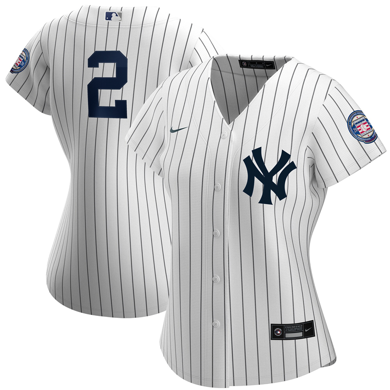2020 MLB Women New York Yankees 2 Derek Jeter Nike White Navy 2020 Hall of Fame Induction Replica Jersey 1