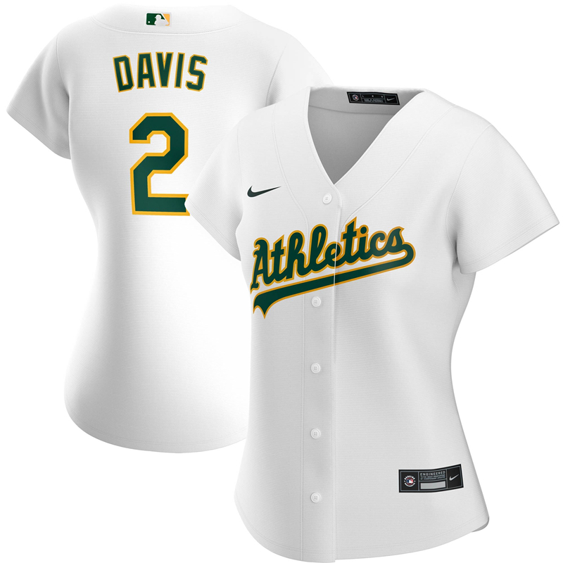 2020 MLB Women Oakland Athletics 2 Khris Davis Nike White Home 2020 Replica Player Jersey 1