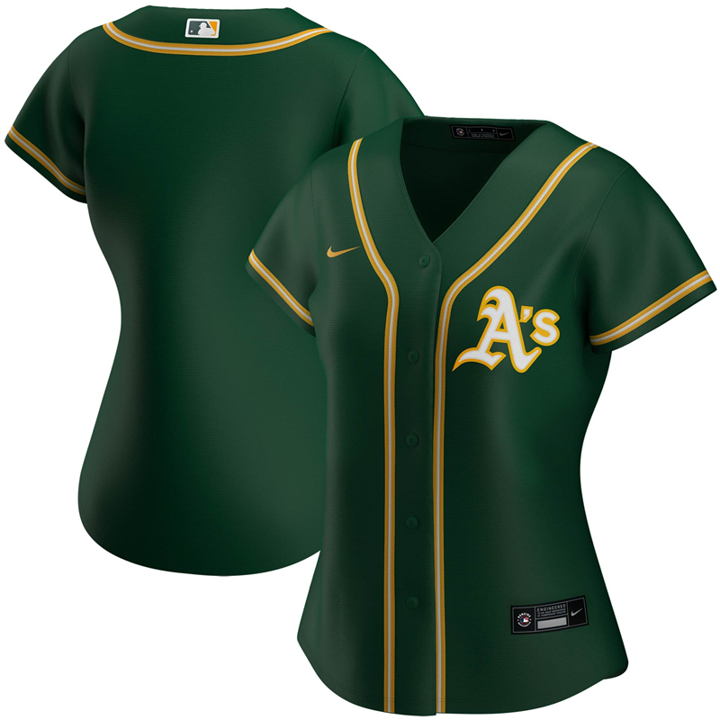 2020 MLB Women Oakland Athletics Nike Green Alternate 2020 Replica Team Jersey 1