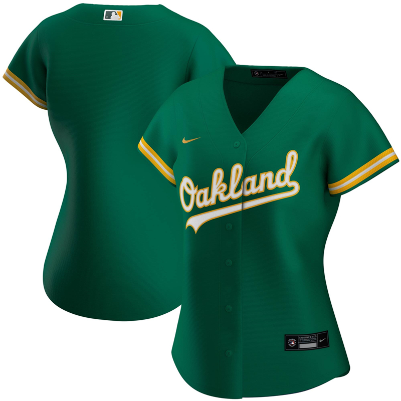 2020 MLB Women Oakland Athletics Nike Kelly Green Alternate 2020 Replica Team Jersey 1