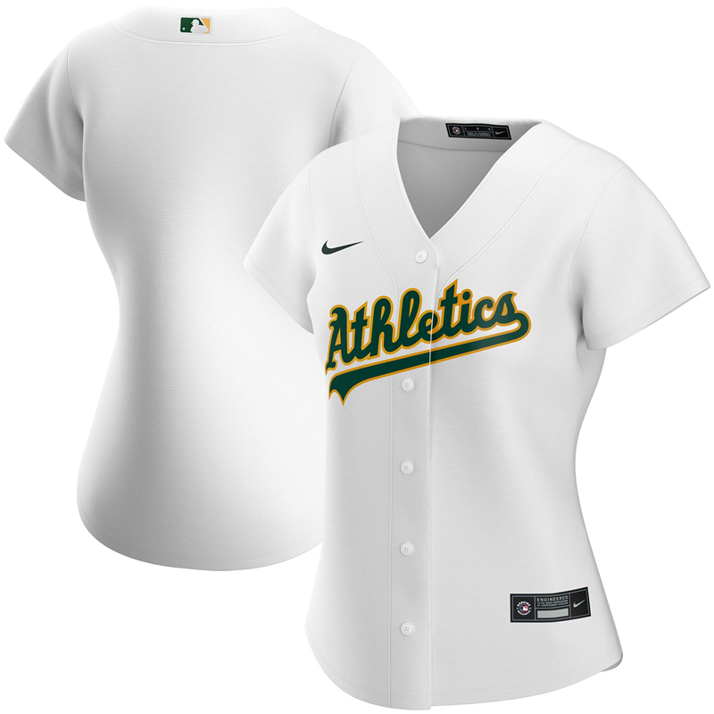 2020 MLB Women Oakland Athletics Nike White Home 2020 Replica Team Jersey 1