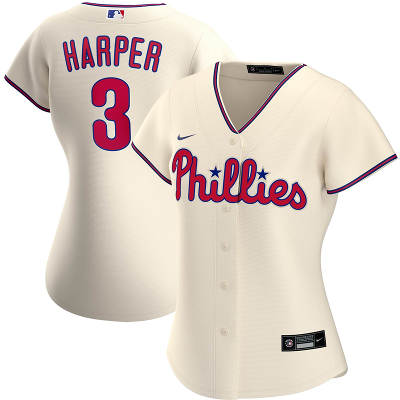 2020 MLB Women Philadelphia Phillies 3 Bryce Harper Nike Cream Alternate 2020 Replica Player Jersey 1