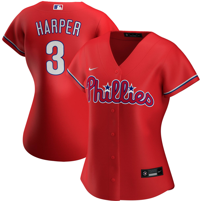 2020 MLB Women Philadelphia Phillies Bryce Harper Nike Red Alternate 2020 Replica Player Jersey 1