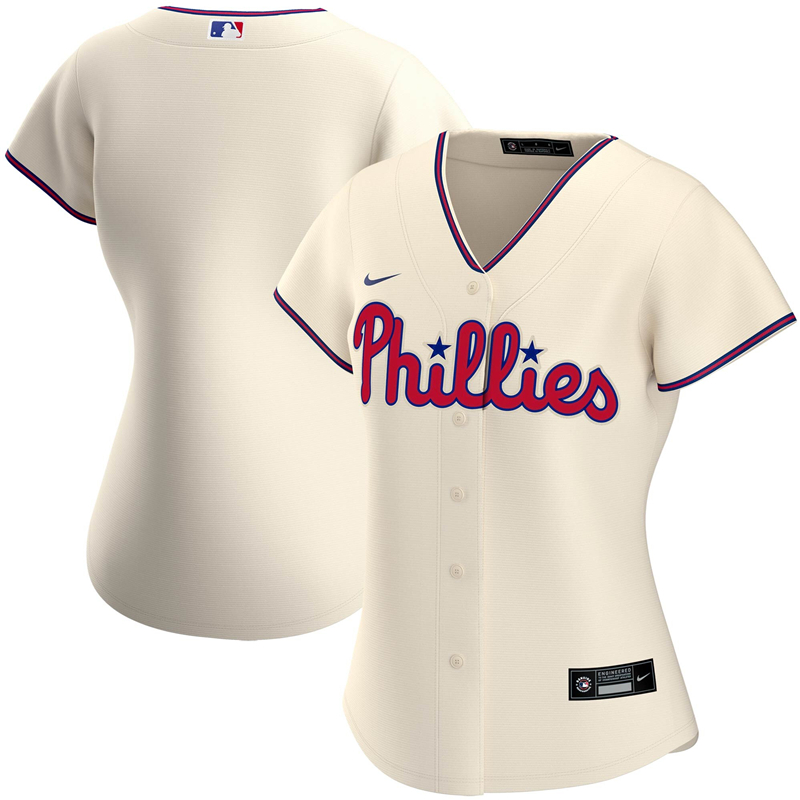 2020 MLB Women Philadelphia Phillies Nike Cream Alternate 2020 Replica Team Jersey 1