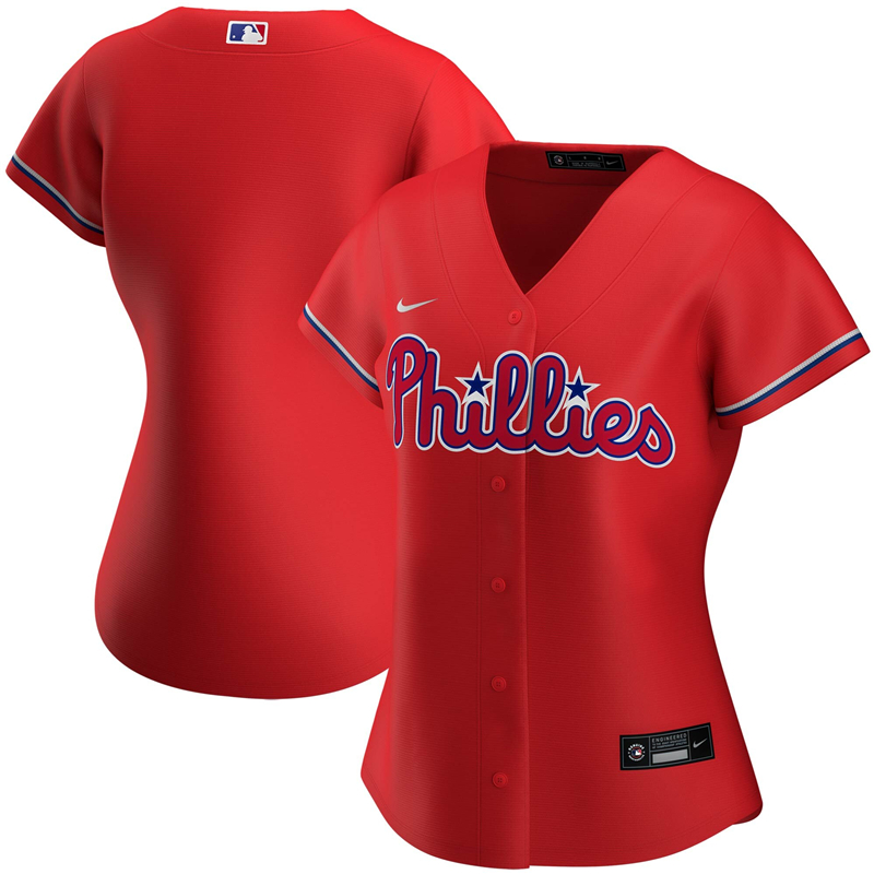 2020 MLB Women Philadelphia Phillies Nike Red Alternate 2020 Replica Team Jersey 1