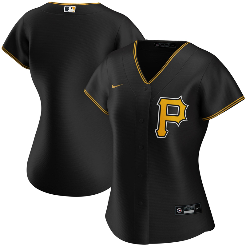 2020 MLB Women Pittsburgh Pirates Nike Black Alternate 2020 Replica Team Jersey 1