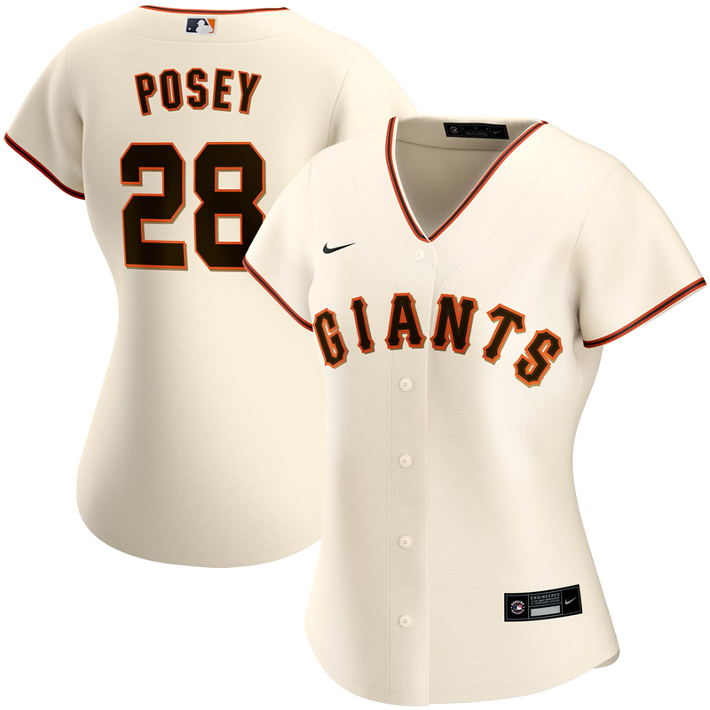 2020 MLB Women San Francisco Giants 28 Buster Posey Nike Cream Home 2020 Replica Player Jersey 1