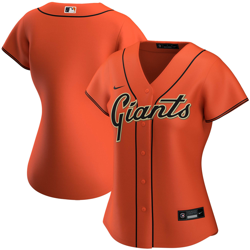 2020 MLB Women San Francisco Giants Nike Orange Alternate 2020 Replica Team Jersey 1